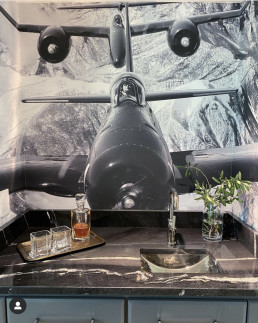 Wet bar with airplane suspended from ceiling with mountains behind